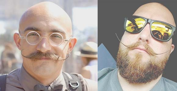 handlebar mustache style for bald guys
